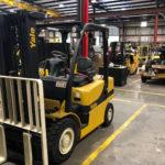 Yale forklift inside of warehouse