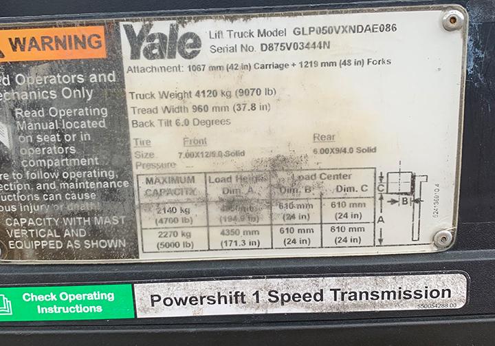 Yale lift truck model