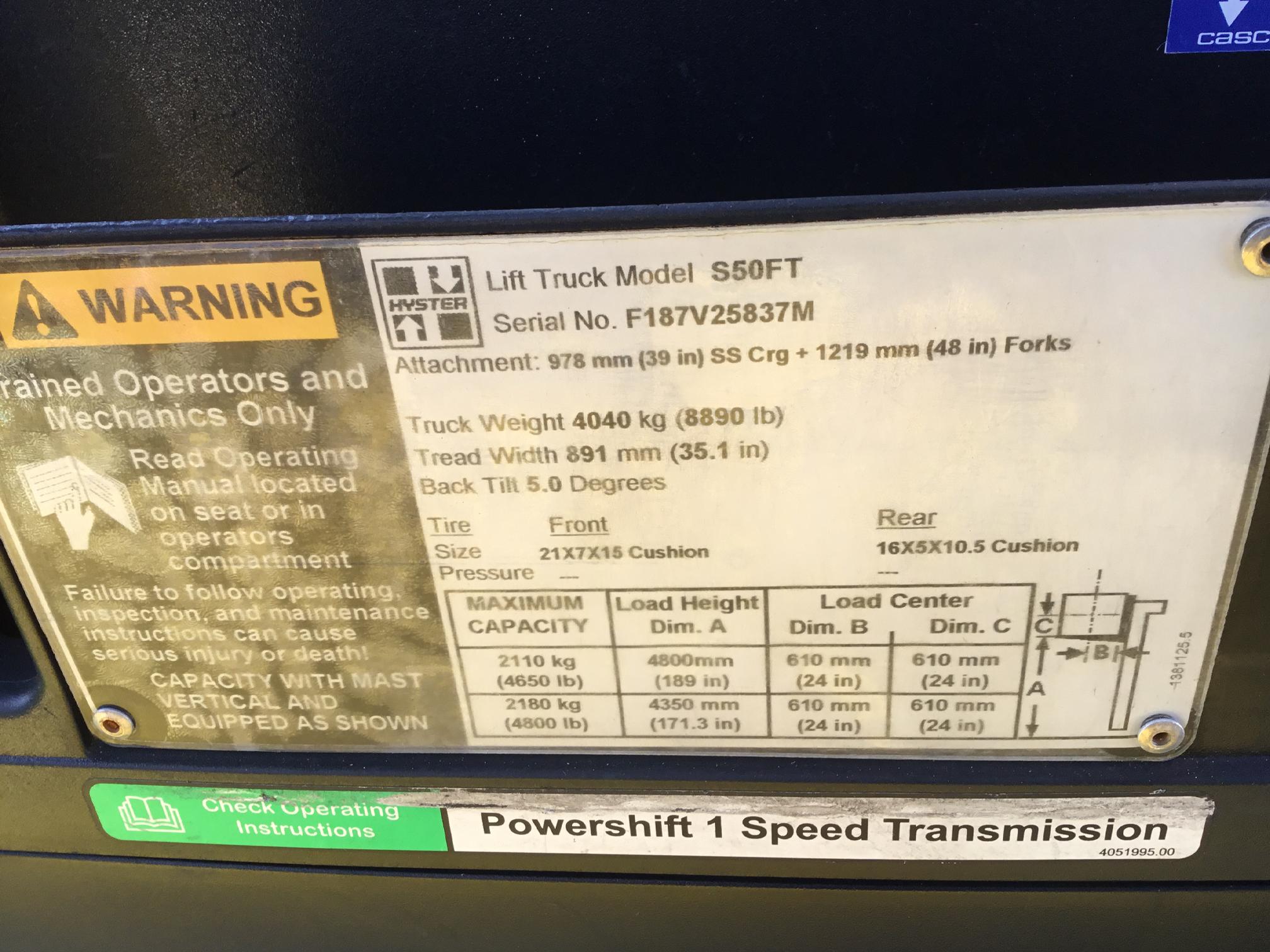 Hyster 240863 lift truck model info