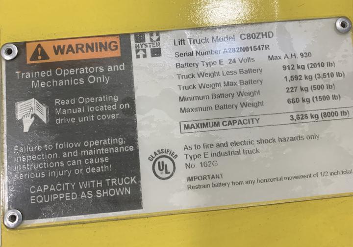 Hyster 1020065 Lift Truck Model Label