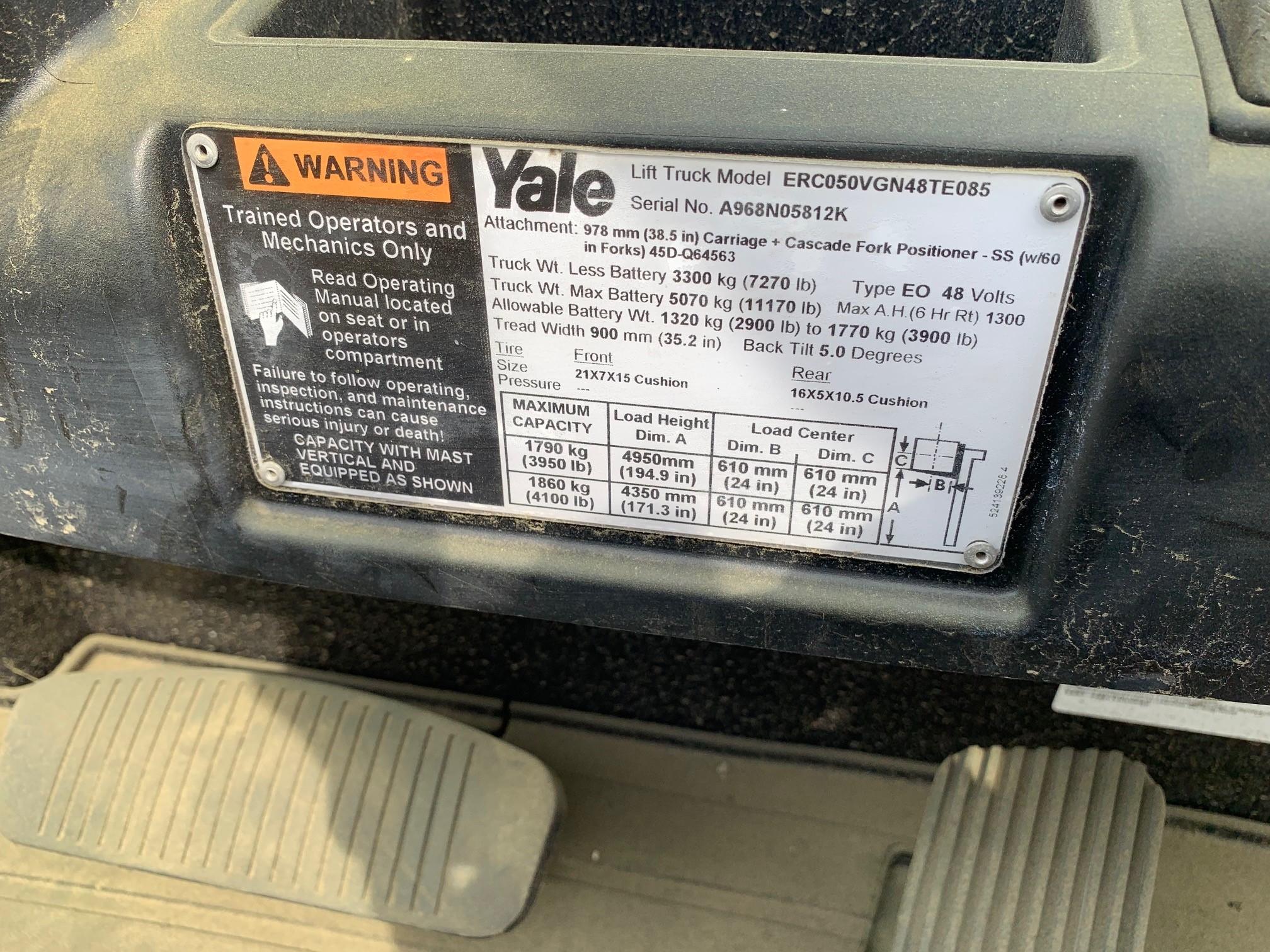 Yale lift truck ERC050 specs